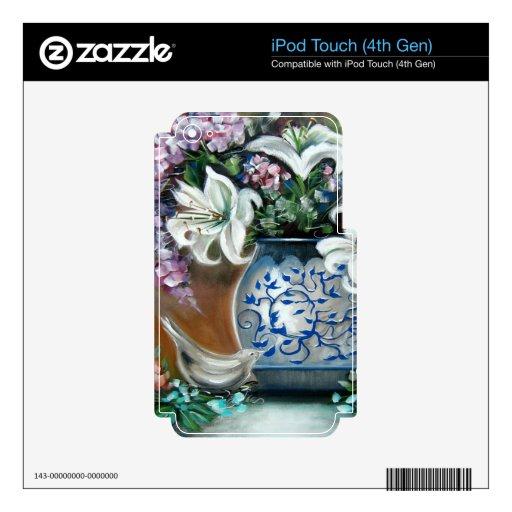Hydrangeas y Lillies blanco Calcomanías Para iPod Touch 4G