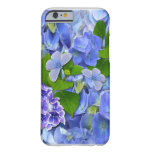 Hydrangeas y mariposas azules funda de iPhone 6 barely there