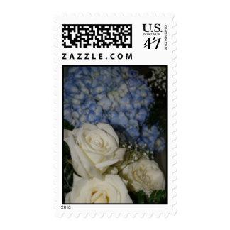 Hydrangeas y rosas timbre postal