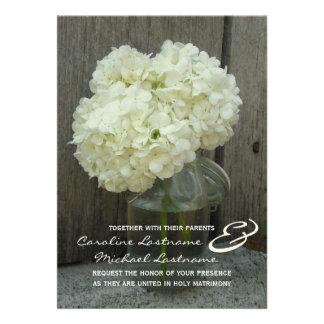 Hydranges & Barnwood Wedding Invite