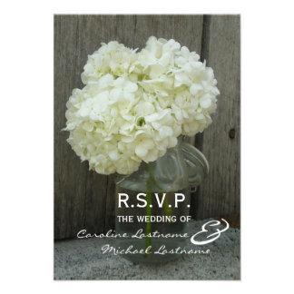 Hydranges y Barnwood que casan RSVP Invitacion Personalizada
