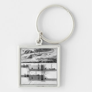 Hydraulic, canal and locks Silver-Colored square keychain