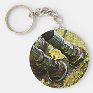 Hydraulic Hoses on old Tractor Basic Round Button Keychain