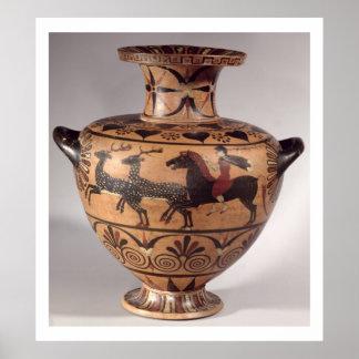 Hydria, cazando escena, Griego arcaico, figura neg Poster