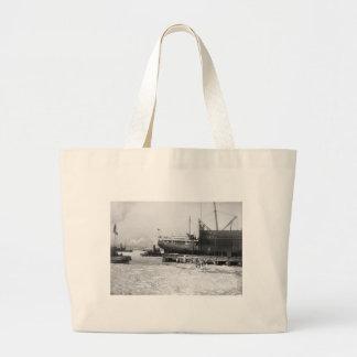 Hydro-Aeroplane on Ice: 1910 Large Tote Bag