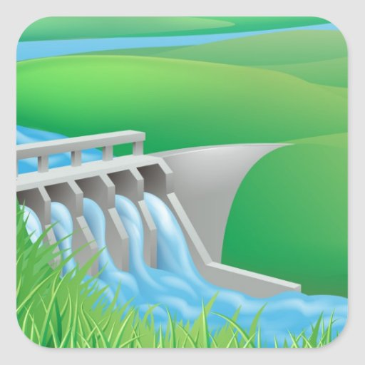 Hydro dam water power energy illustration square stickers