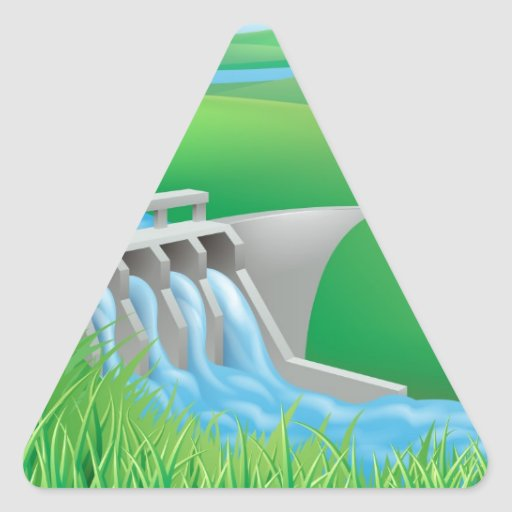 Hydro dam water power energy illustration triangle sticker