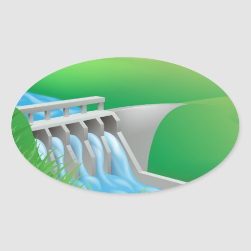 Hydro dam water power energy illustration oval sticker