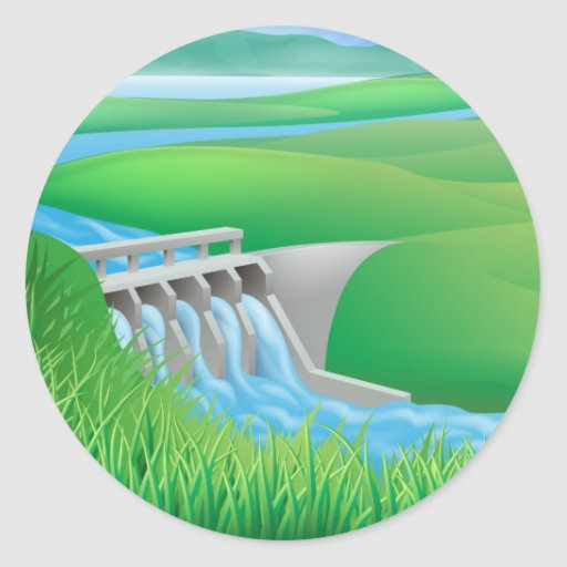 Hydro dam water power energy illustration round stickers