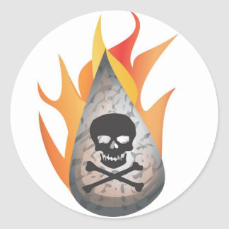 Hydro-frack water on fire classic round sticker