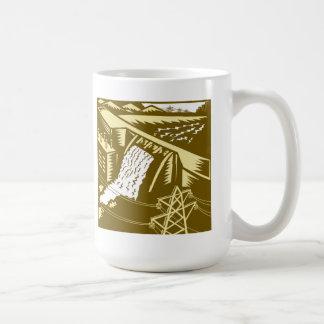 Hydroelectric Hydro Energy Dam Woodcut Mugs