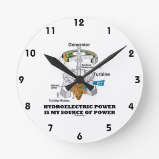 Hydroelectric Power Is My Source Of Power Wallclocks