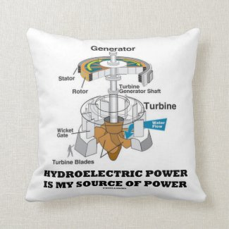 Hydroelectric Power Is My Source Of Power Throw Pillow