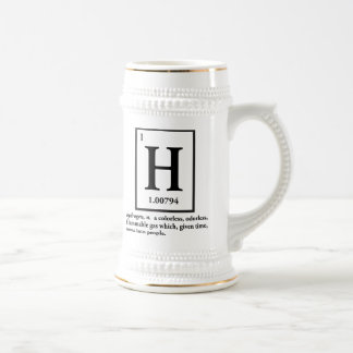 hydrogen - a gas which turns into people beer stein