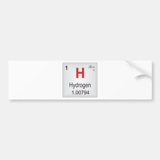 Hydrogen Individual Element of the Periodic Table Bumper Sticker