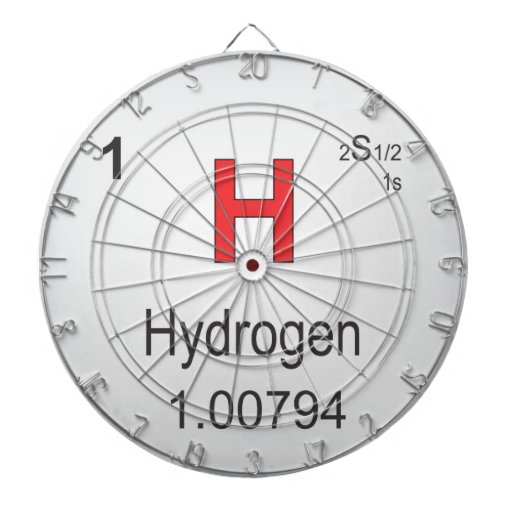 Hydrogen Individual Element of the Periodic Table Dartboard With Darts