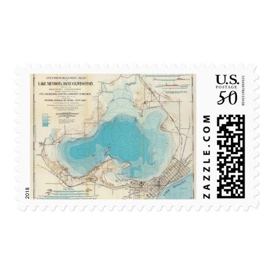 Hydrographic map Lake Mendota Postage