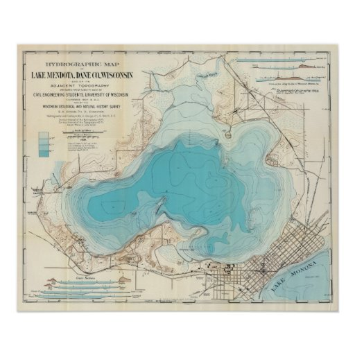 Hydrographic map Lake Mendota Print