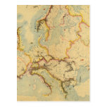 Hydrographic map of Europe Postcard