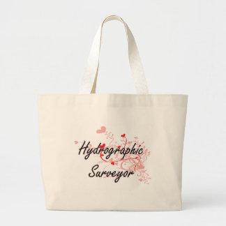 Hydrographic Surveyor Artistic Job Design with Hea Jumbo Tote Bag