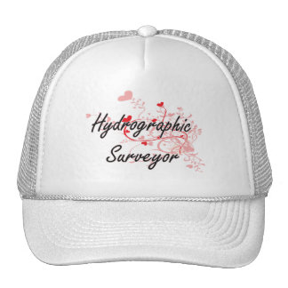 Hydrographic Surveyor Artistic Job Design with Hea Trucker Hat