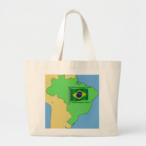 Hydrology Map and Flag of Brazil Bags