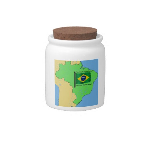 Hydrology Map and Flag of Brazil Candy Jars