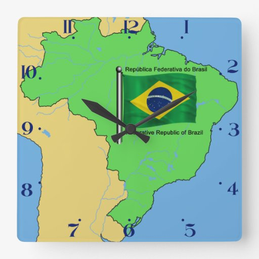 Hydrology Map and Flag of Brazil Wall Clock