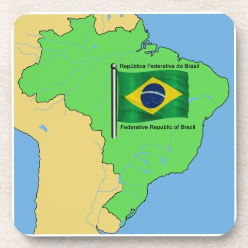 Hydrology Map and Flag of Brazil Coasters