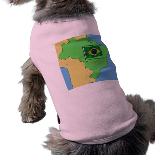 Hydrology Map and Flag of Brazil Doggie Shirt