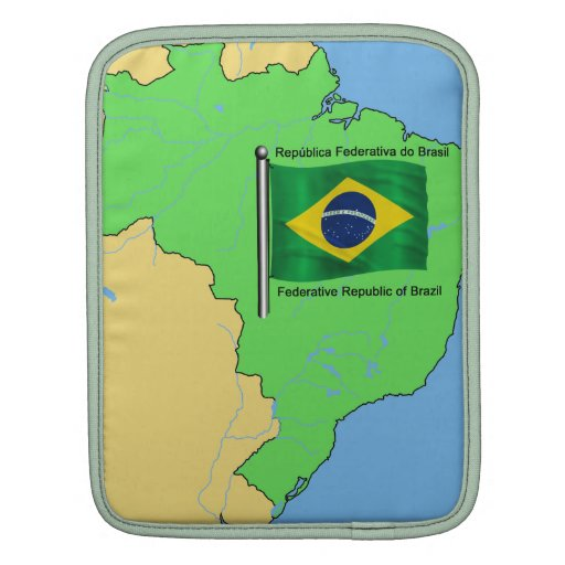 Hydrology Map and Flag of Brazil Sleeves For iPads