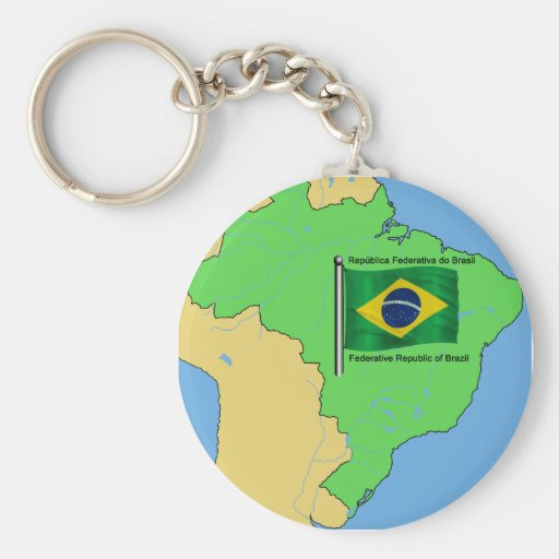 Hydrology Map and Flag of Brazil Key Chains