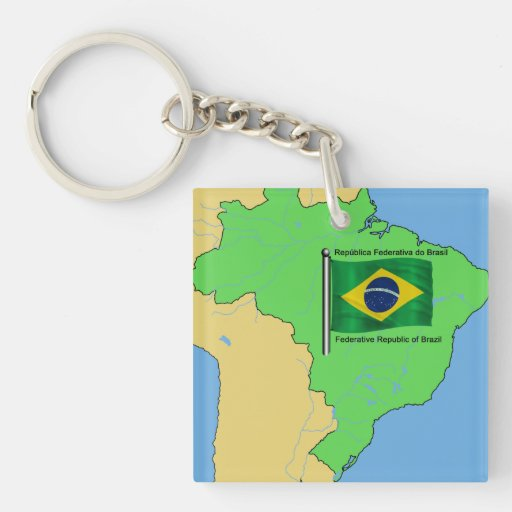 Hydrology Map and Flag of Brazil Square Acrylic Key Chain