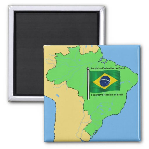 Hydrology Map and Flag of Brazil Refrigerator Magnet