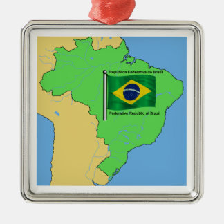 Hydrology Map and Flag of Brazil Metal Ornament