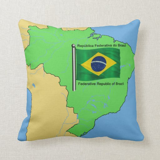 Hydrology Map and Flag of Brazil Pillow