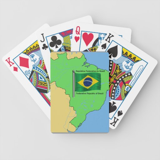 Hydrology Map and Flag of Brazil Poker Deck