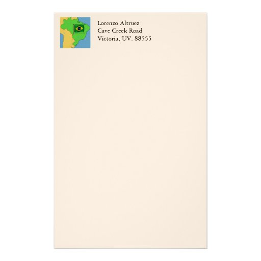Hydrology Map and Flag of Brazil Stationery Paper