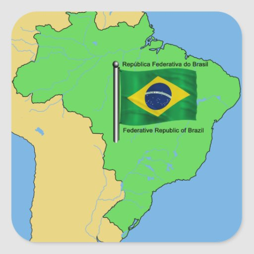 Hydrology Map and Flag of Brazil Square Stickers
