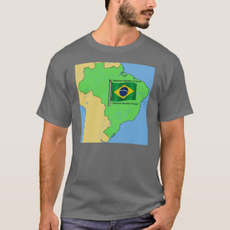 Hydrology Map and Flag of Brazil T-Shirt