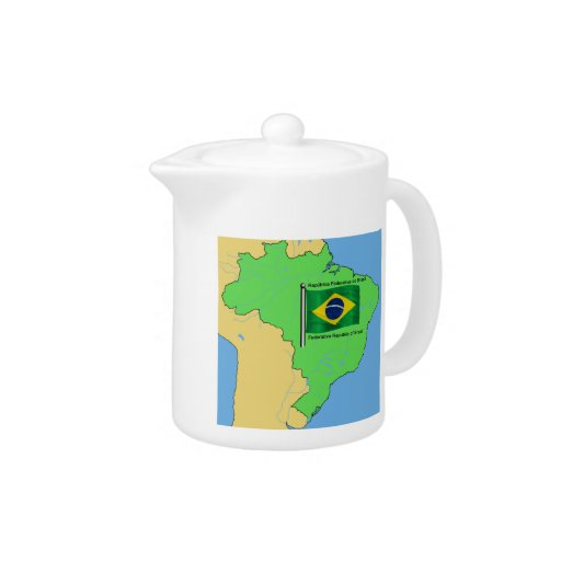 Hydrology Map and Flag of Brazil