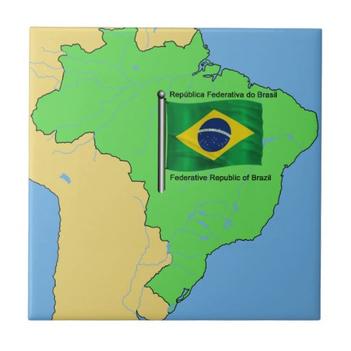 Hydrology Map and Flag of Brazil Tiles