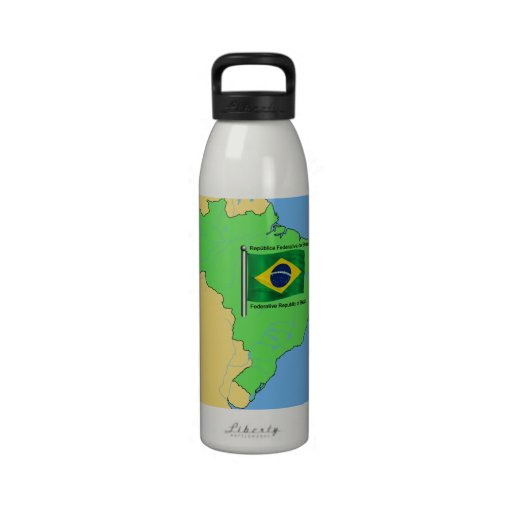 Hydrology Map and Flag of Brazil Water Bottles