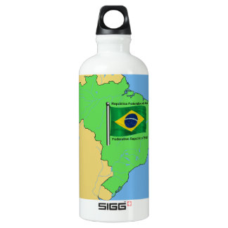 Hydrology Map and Flag of Brazil Water Bottle