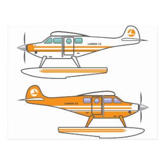 Hydroplane. Floating plane. vector Postcard