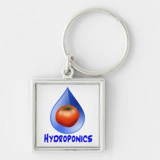 Hydroponic Tomato water drop design logo Silver-Colored Square Keychain
