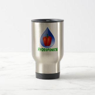 Hydroponics, Bell Pepper, drop, green text 15 Oz Stainless Steel Travel Mug