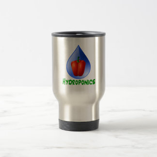 Hydroponics, Bell Pepper, drop, green text Travel Mug