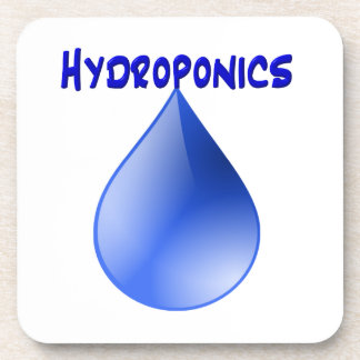 Hydroponics blue letters with blue drop graphic coaster