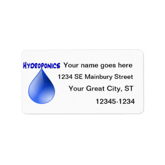Hydroponics blue letters with blue drop graphic label